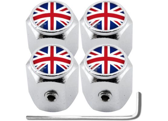 4 AntidiebstahlVentilkappen England Vereinigtes Königreich Englisch British Union Jack Hexa