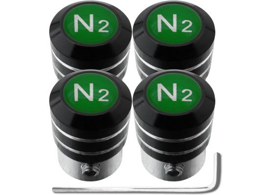 4 AntidiebstahlVentilkappen Stickstoff N2 grün black
