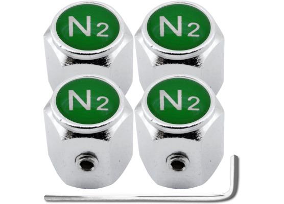 4 AntidiebstahlVentilkappen Stickstoff N2 grün Hexa