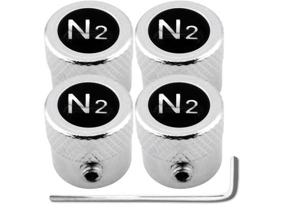 4 AntidiebstahlVentilkappen Stickstoff N2 schwarz  chromfarbig gestreift