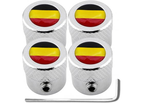 4 Belgium flag striated antitheft valve caps