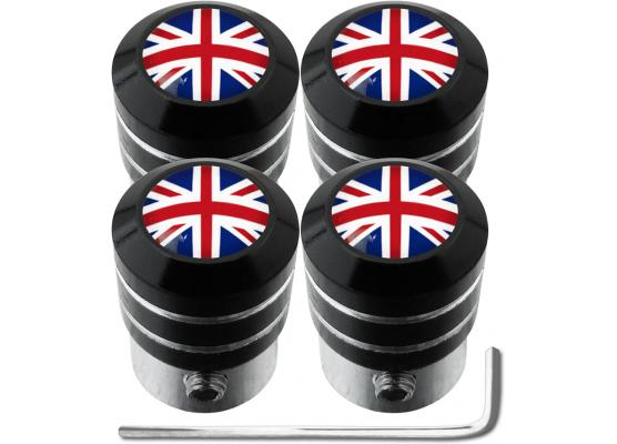4 bouchons de valve antivol Angleterre RoyaumeUni Anglais Union Jack British England black