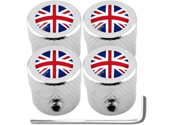 4 bouchons de valve antivol Angleterre RoyaumeUni Anglais Union Jack British England strié