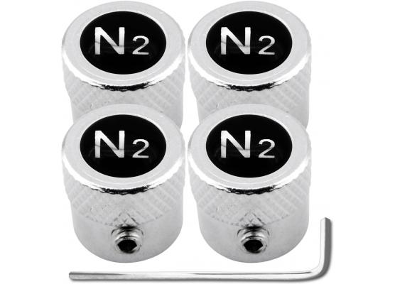 4 bouchons de valve antivol Azote N2 noir  chrome strié