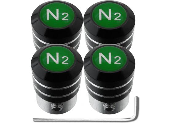 4 bouchons de valve antivol Azote N2 vert black