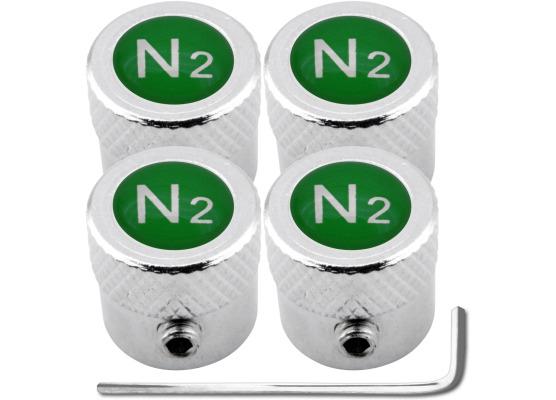 4 bouchons de valve antivol Azote N2 vert strié