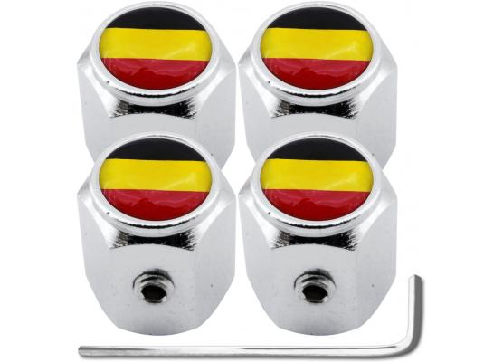 4 bouchons de valve antivol drapeau Belgique Belge hexa