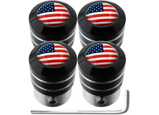 4 bouchons de valve antivol EtatsUnis USA Amérique black