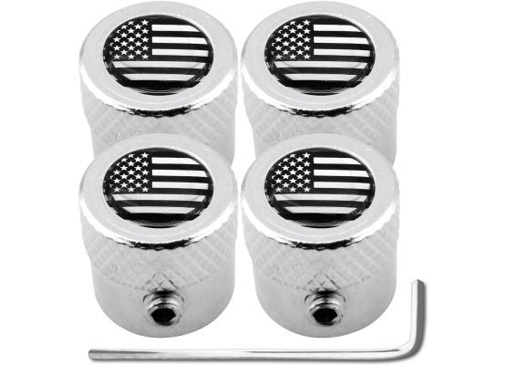 4 bouchons de valve antivol EtatsUnis USA Amérique noir  chrome strié