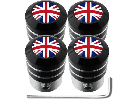 4 English UK England British Union Jack black antitheft valve caps