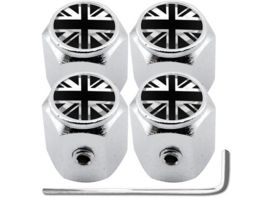 4 English UK England British Union Jack black  chrome hex antitheft valve caps