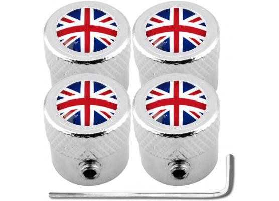 4 English UK England British Union Jack striated antitheft valve caps