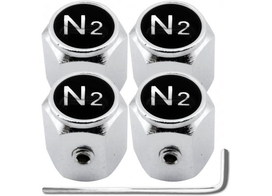 4 Nitrogen N2 black  chrome hex antitheft valve caps