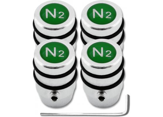 4 Nitrogen N2 green design antitheft valve caps