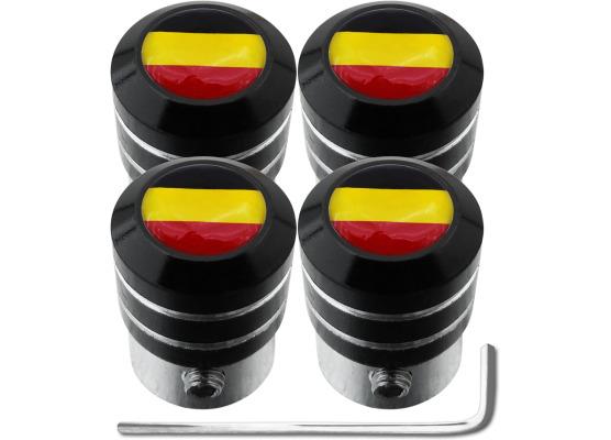 4 tapones de valvula antirrobo bandera Belgica Belga black