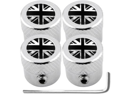 4 tapones de valvula antirrobo Inglaterra Reino Unido Ingles Gran Bretana Jack negro  cromo estria
