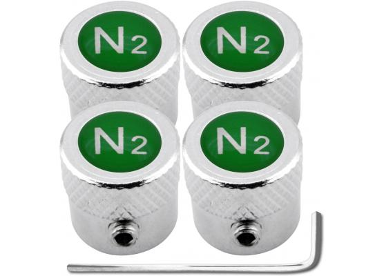 4 tapones de valvula antirrobo Nitrogeno N2 verde estriado