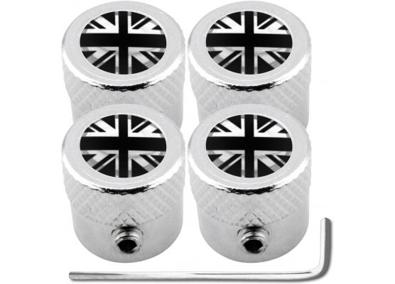 4 tappi per valvole antifurto Inghilterra Regno Unito Inglese Gran Bretagna nero  cromo striato