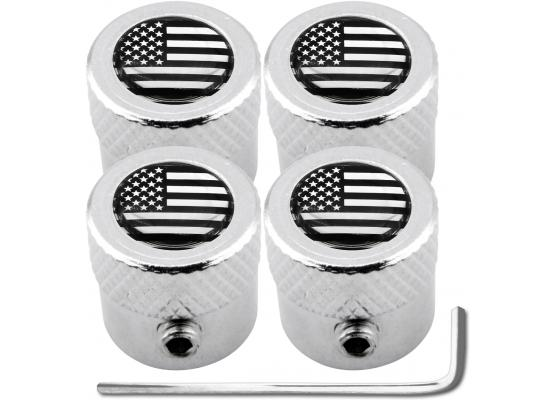 4 USA United States of America black  chrome striated antitheft valve caps