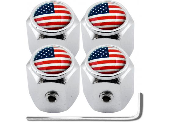 4 USA United States of America hex antitheft valve caps