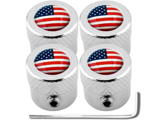 4 USA United States of America striated antitheft valve caps