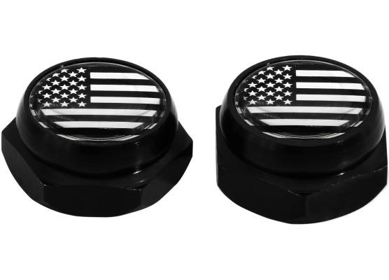 Cappucci per rivetti per targa di immatricolazione USA Stati Uniti dAmerica nero cromo