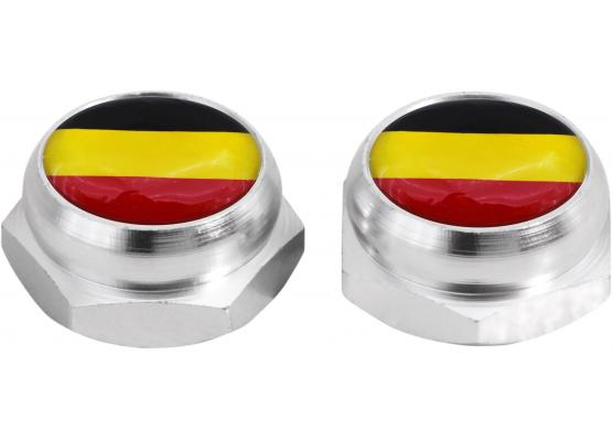 Nietenkappen für Nummernschilder Deutsche Deutschland Flagge silber