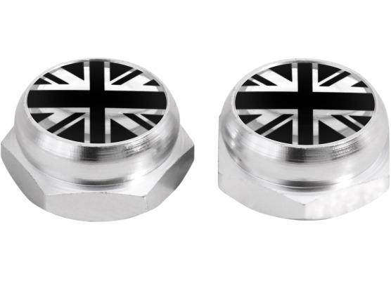 Nietenkappen für Nummernschilder EnglandFahne Vereinigtes Königreich Englisch British silber schw