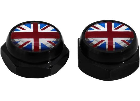 Nietenkappen für Nummernschilder England Vereinigtes Königreich Englisch British Union Jack schwarz