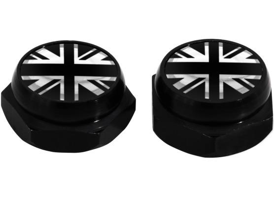 RivetCovers for Licence Plate English Flag UK England British Union Jack silver black  chrome