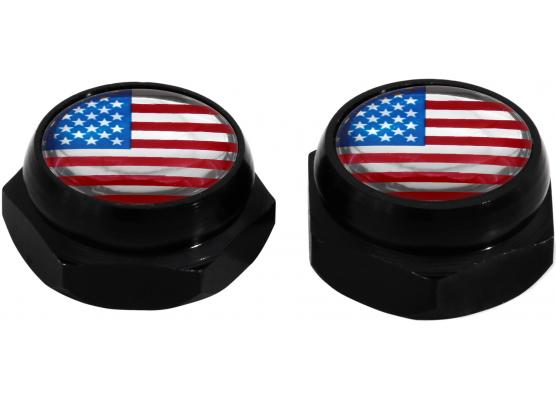 RivetCovers for Licence Plate USA United States of America black