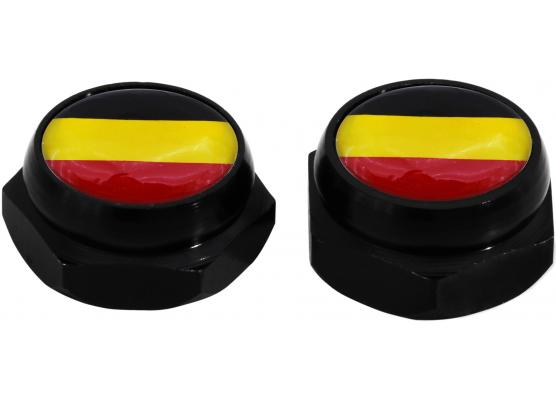 Taparemaches para matricula bandera Alemana Alemania plateado