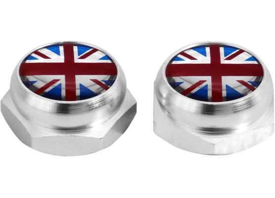 Taparemaches para matricula Inglaterra Reino Unido Ingles Gran Bretana Jack plateado